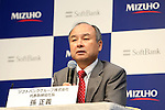 SoftBank group Chairman and CEO Masayoshi Son attends a press conference in Tokyo, Japan on September 15, 2016. SoftBank and Mizuho Financial Group announced the launch a joint venture for a new personal loan service using FinTech technology. (Photo by AFLO)