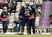 29th September 2017, Ageas Bowl, Southampton, England; One Day International Series, England versus West Indies; Moeen Ali of England celebrates taking the wicket of West Indies Marlon Samuels with Jos Buttler (wk) of England