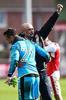 Fleetwood Town manager Uwe Rosler  celebrates with  Alex Cairns at the end of the match<br /> <br /> Photographer Richard Martin-Roberts/CameraSport<br /> <br /> The EFL Sky Bet League One - Fleetwood Town v Millwall - Monday 17th April 2017 - Highbury Stadium - Fleetwood<br /> <br /> World Copyright &copy; 2017 CameraSport. All rights reserved. 43 Linden Ave. Countesthorpe. Leicester. England. LE8 5PG - Tel: +44 (0) 116 277 4147 - admin@camerasport.com - www.camerasport.com