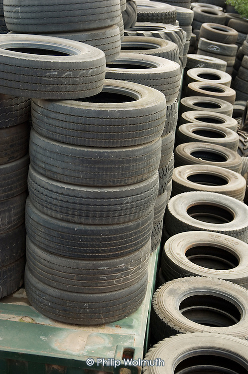 Used tyres in a tyre-fitter's yard in West London.