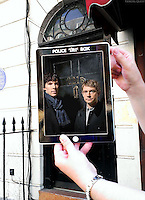 Pictured: Filming of Sherlock at Baker street in London with Benedict Cumberbatch and Martin Freeman<br />
