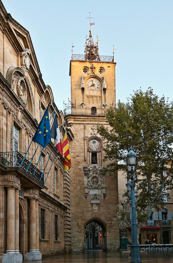 Clock tower in the Place de l'Hotel de Ville, Aix-en-Provence, Provence, France.