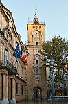 Clock tower in the Place de l'Hotel de Ville, Aix-en-Provence, Provence, France.