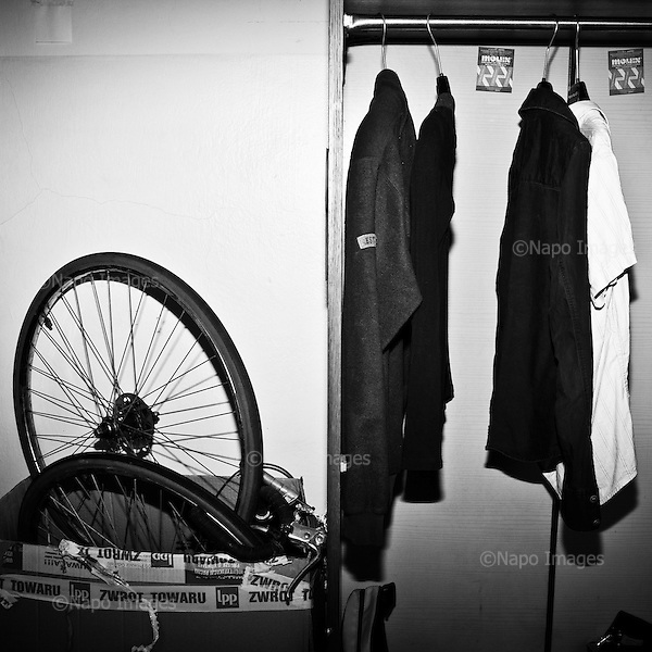 """WARSAW, POLAND, MARCH 2012:.Items that are a part of """"freeshop"""" collection. The Freeshop is a place where people can leave unwanted clothes, while others can pick what they like for free. .(Photo by Piotr Malecki / Napo Images)..Warszawa Marzec 2012:.Zdjecie zrobione we """"freeshopie"""", czyli miejscu, gdzie mozna otrzymac za darmo niepotrzebne komus ubrania. Ten freeshop dziala w squacie """"Przychodnia"""" w centrum Warszawy, a od zdjec pozuje jeden ze studentow, ktorzy tu mieszkaja i prowadza ten """"sklep"""".Fot: Piotr Malecki / Napo Images"""