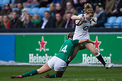 16th March 2018, Ricoh Arena, Coventry, England; Womens Six Nations Rugby, England Women versus Ireland Women; Danielle Waterman of England is tackled by Louise Galvin of Ireland
