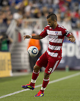 FC Dallas forward Maicon Santos (9) traps the ball. In a Major League Soccer (MLS) match, the New England Revolution defeated FC Dallas, 2-0, at Gillette Stadium on September 10, 2011.