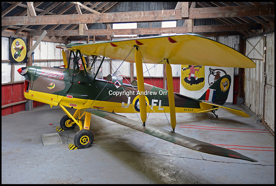 BNPS.co.uk (01202 558833)<br /> Pic: AndrewOrr/BNPS<br /> <br /> ***Please use full byline***<br /> <br /> The Tiger Moth in a private hangar in Norfolk showing its RAF serial number. <br /> <br /> A rare Tiger Moth bi-plane that was used to track the German Blitskrieg towards Dunkirk is coming up for sale in a unique auction.<br /> <br /> The wartime aircraft was a 'spotter' and the crew let themselves be repeatedly shot at in order to plot how fast the enemy was moving.<br /> <br /> Badly damaged, the plane took off from Dunkirk before the coastal town fell and limped across the English Channel only to come under friendly-fire by trigger-happy shore batteries.<br /> <br /> Tiger Moth N6965 went on to be used by the RAF as a training aircraft until 1955 when it was put into storage for 30 years following a crash landing at Southend, Essex.