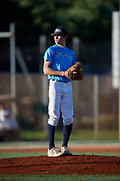 Angel Acevedo during the WWBA World Championship at the Roger Dean Complex on October 19, 2018 in Jupiter, Florida.  Angel Acevedo is a left handed pitcher from Elburn, Illinois who attends Kaneland Senior High School and is committed to Bradley.  (Mike Janes/Four Seam Images)