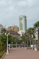 Spain, Alicante, a beach town and historic Mediterranean port. Promenade walkway on the harbor, Explanada de Espana.