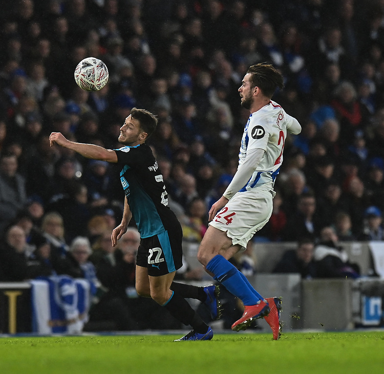 West Bromwich Albion's Wes Hoolahan (left) under pressure from Brighton & Hove Albion's Davy Propper (right) <br /> <br /> Photographer David Horton/CameraSport<br /> <br /> Emirates FA Cup Fourth Round - Brighton and Hove Albion v West Bromwich Albion - Saturday 26th January 2019 - The Amex Stadium - Brighton<br />  <br /> World Copyright © 2019 CameraSport. All rights reserved. 43 Linden Ave. Countesthorpe. Leicester. England. LE8 5PG - Tel: +44 (0) 116 277 4147 - admin@camerasport.com - www.camerasport.com
