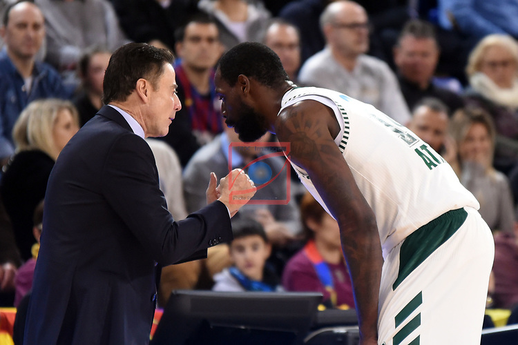 Turkish Airlines Euroleague 2018/2019. <br /> Regular Season-Round 18.<br /> FC Barcelona Lassa vs Panathinaikos Opap Athens: 79-68.<br /> Rick Pitino & James Gist.