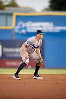 Tampa Tarpons shortstop Kyle Holder (8) during a game against the Dunedin Blue Jays on June 2, 2018 at Dunedin Stadium in Dunedin, Florida.  Dunedin defeated Tampa 4-0.  (Mike Janes/Four Seam Images)