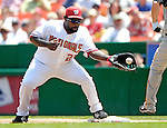 7 June 2007: Washington Nationals first baseman Dmitri Young makes a play at first base against the Pittsburgh Pirates at RFK Stadium in Washington, DC. The Pirates defeated the Nationals 3-2 in the third game of their 3-game series...Mandatory Credit: Ed Wolfstein Photo