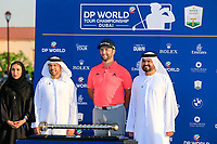 Jon Rahm (ESP) winner of the DP World Tour Championship and Race to Dubai at the Jumeirah Golf Estates, Dubai, United Arab Emirates. 24/11/2019<br /> Picture: Golffile | Fran Caffrey<br /> <br /> <br /> All photo usage must carry mandatory copyright credit (© Golffile | Fran Caffrey)