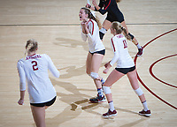 STANFORD, CA - December 1, 2018: Holly Campbell, Kathryn Plummer, Kate Formico at Maples Pavilion. The Stanford Cardinal defeated Loyola Marymount 25-20, 25-15, 25-17 in the second round of the NCAA tournament.