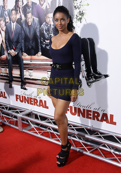 "CIARA (CIARA PRINCESS HARRIS).Los Angeles Premiere of ""Death At a Funeral""-Arrivals held at The Cinerama Dome, Hollywood, California, USA..April 12th, 2010.full length blue teal dress body con black waist belt long sleeved sleeves cleavage platform strappy sandals wedges.CAP/ADM/TC.©T. Conrad/AdMedia/Capital Pictures."