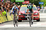 Photo finish as Julian Alaphilippe (FRA) Deceuninck-Quick Step just pips Gregor Mühlberger (AUT) Bora-Hansgrohe for the victory on the finish line of Stage 6 of the Criterium du Dauphine 2019, running 229km from Saint-Vulbas - Plaine de l'Ain to Saint-Michel-de-Maurienne, France. 14th June 2019.<br /> Picture: ASO/Alex Broadway | Cyclefile<br /> All photos usage must carry mandatory copyright credit (© Cyclefile | ASO/Alex Broadway)