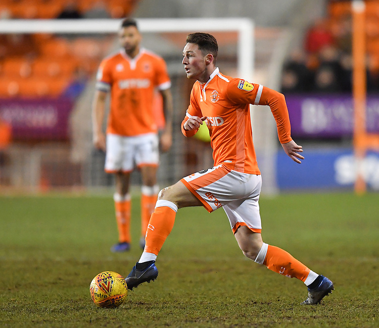Blackpool's Jordan Thompson<br /> <br /> Photographer Dave Howarth/CameraSport<br /> <br /> The EFL Sky Bet League One - Blackpool v Wycombe Wanderers - Tuesday 29th January 2019 - Bloomfield Road - Blackpool<br /> <br /> World Copyright © 2019 CameraSport. All rights reserved. 43 Linden Ave. Countesthorpe. Leicester. England. LE8 5PG - Tel: +44 (0) 116 277 4147 - admin@camerasport.com - www.camerasport.com