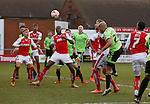 Alex Baptiste of Sheffield Utd gets a header across goal - English League One - Fleetwood Town vs Sheffield Utd - Highbury Stadium - Fleetwood - England - 5rd March 2016 - Picture Simon Bellis/Sportimage