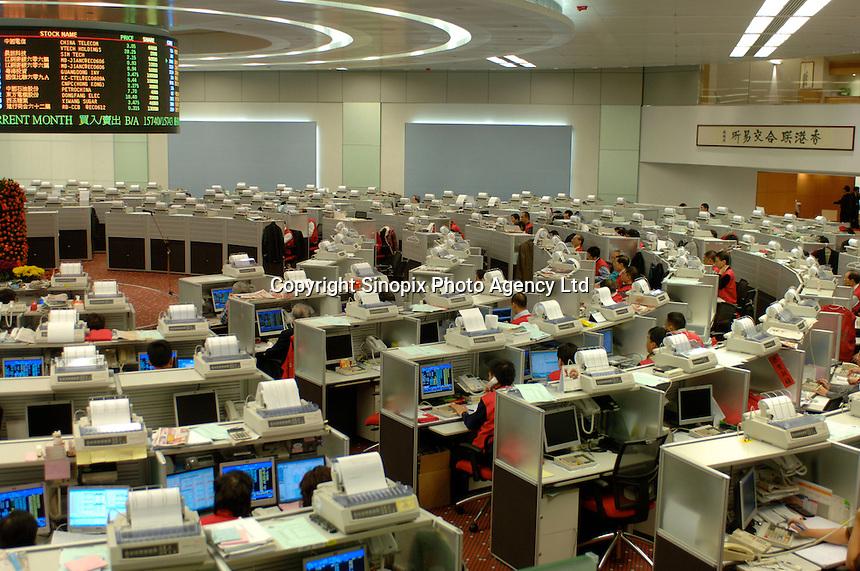 Staff working in Hong Kong Exchange in Hong Kong, China..02 Feb 2006