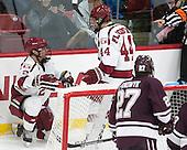 Tyler Moy (Harvard - 2), Michael Floodstrand (Harvard - 44) - The Harvard University Crimson defeated the visiting Colgate University Raiders 7-4 (EN) on Saturday, February 20, 2016, at Bright-Landry Hockey Center in Boston, Massachusetts,
