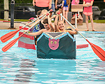 Indianola Park and Recreations hosted cardboard boat races at the Veteran's Memorial Aquatic Center July 22. Alexa Nauholz and Campbell McGuire rowed the boat When Pigs Fly.
