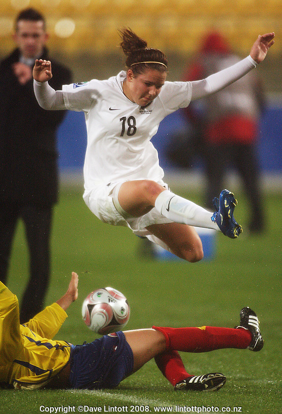 Lauren Mathis vaults Paola Bayona during the FIFA Women's Under-17 World Cup pool match between New Zealand and Columbia at Westpac Stadium, Wellington, New Zealand on Tuesday, 4 November 2008. Photo: Dave Lintott / lintottphoto.co.nz