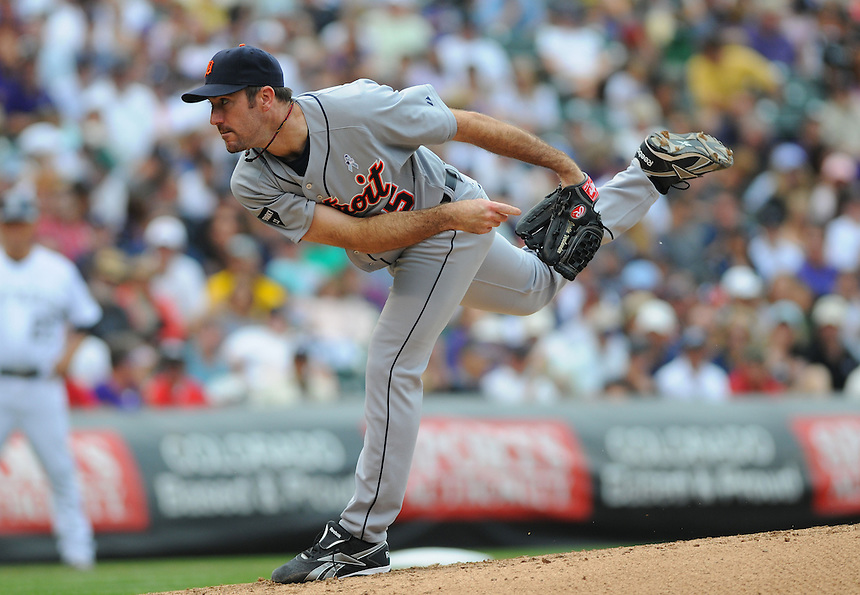 19 JUNE 2011: Detroit Tigers starting pitcher Justin Verlander (35) had a complete game, giving up 4 hits and striking out 5 with no walks during a regular season interleage game between the Detroit Tigers and the Colorado Tigers beat the Rockies 9-1.   *****For Editorial Use Only*****