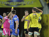 Referee Nick Briant yellow-cards James Broadhurst during the Super Rugby match between the Hurricanes and Western Force at Westpac Stadium, Wellington, New Zealand on Friday, 19 April 2013. Photo: Dave Lintott / lintottphoto.co.nz