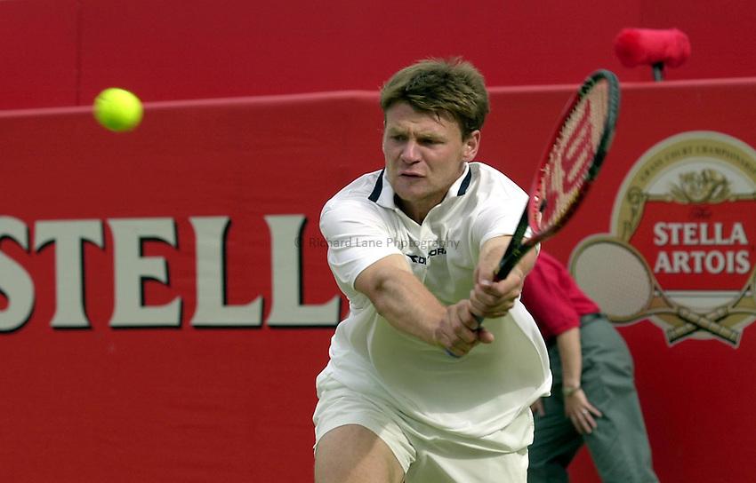 Photo:Ken Brown .11/06/2001. .Stella Artois Championship 2001 .Vladimir Voltchov in his match against Greg Rusedski