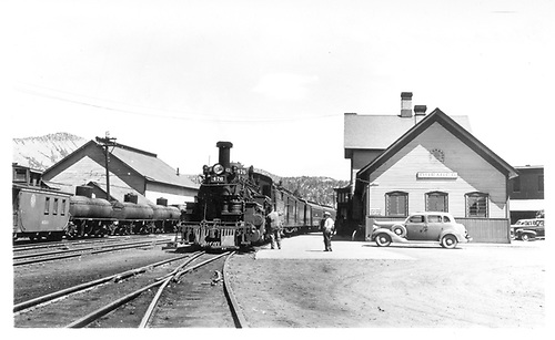 D&amp;RGW San Juan at the Durango depot.  Caboose #0540 is on an adjacent track headed north behind a string of tank cars.<br /> D&amp;RGW  Durango, CO  6/7/1942