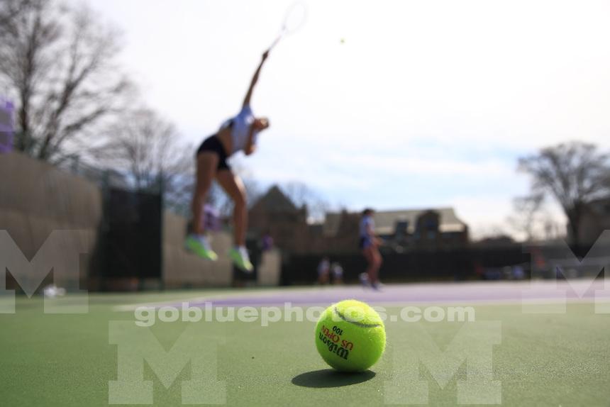 The University of Michigan women's tennis team won their first round of the 2014 Big Ten Women's Tennis Tournament in Evanston, IL at Northwestern University. April 25, 2014