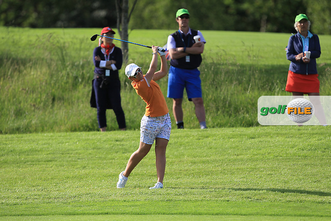 Charlotte Thomas on the 12th during the Saturday Afternoon Fourballs of the 2016 Curtis Cup at Dun Laoghaire Golf Club on Saturday 11th June 2016.<br /> Picture:  Golffile | Thos Caffrey