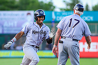 Kane County Cougars second baseman Fernery Ozuna (9) and manager Butch Hobson (17) during game one of a Midwest League doubleheader against the Wisconsin Timber Rattlers on June 23, 2017 at Fox Cities Stadium in Appleton, Wisconsin.  Kane County defeated Wisconsin 4-3. (Brad Krause/Krause Sports Photography)