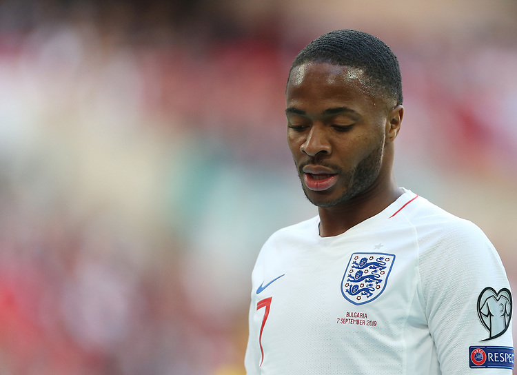 England's Raheem Sterling<br /> <br /> Photographer Rob Newell/CameraSport<br /> <br /> UEFA European Championship Qualifying Group A - England v Bulgaria - Saturday 7th September 2019 - Wembley Stadium - London<br /> <br /> World Copyright © 2019 CameraSport. All rights reserved. 43 Linden Ave. Countesthorpe. Leicester. England. LE8 5PG - Tel: +44 (0) 116 277 4147 - admin@camerasport.com - www.camerasport.com