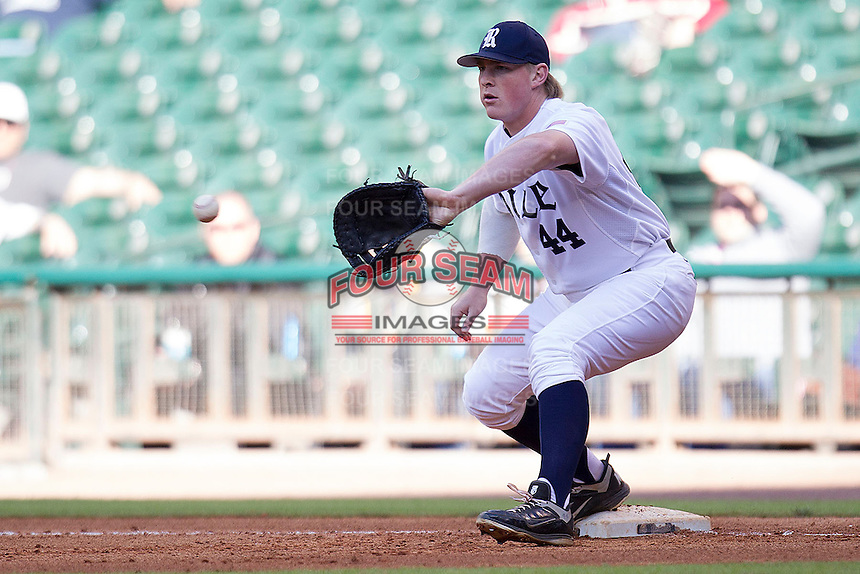 Rice Owls first baseman Skyler Ewing #44 records an out during the NCAA baseball game against the North Carolina Tar Heels on March 1st, 2013 at Minute Maid Park in Houston, Texas. North Carolina defeated Rice 2-1. (Andrew Woolley/Four Seam Images).