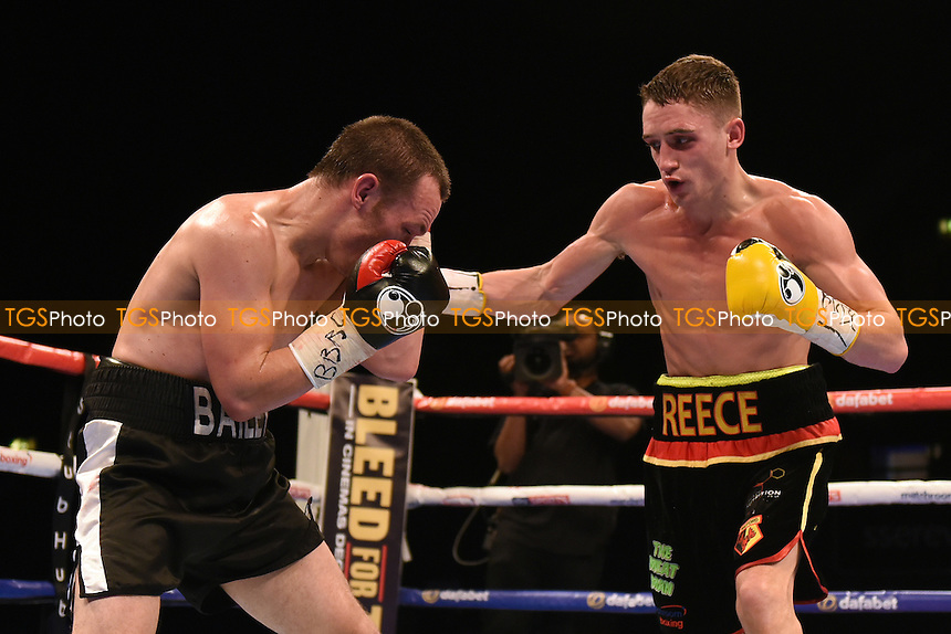 Reece Bellotti (black/red/yellow shorts) defeats Ian Bailey during a Boxing Show at the SSE Arena, Wembley on 26th November 2016