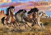 Interlitho-Marcello, REALISTIC ANIMALS, REALISTISCHE TIERE, ANIMALES REALISTICOS,mustangs,wild west, paintings+++++,4 horses,KL4505,#A#, EVERYDAY ,puzzles