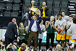 SIOUX FALLS, SD - MARCH 10: North Dakota State Bison head coach David Richman raises the trophy after his team defeated the North Dakota Fighting Hawks 89-53 during the men's championship game at the 2020 Summit League Basketball Tournament in Sioux Falls, SD. (Photo by Richard Carlson/Inertia)