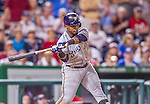 22 August 2015: Milwaukee Brewers infielder Jean Segura in action against the Washington Nationals at Nationals Park in Washington, DC. The Nationals defeated the Brewers 6-1 in the second game of their 3-game weekend series. Mandatory Credit: Ed Wolfstein Photo *** RAW (NEF) Image File Available ***