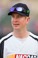 Kurt Busch (40) of Team NASCAR prior to the softball game against Team NHRA in the NASCAR vs NHRA Charity Softball Challenge at CMC-Northeast Stadium on April 17, 2013 in Kannapolis, North Carolina.  Team NHRA defeated Team NASCAR 19-5.  (Brian Westerholt/Four Seam Images)