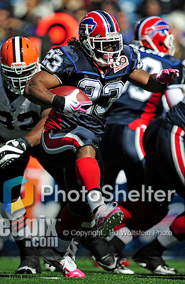 11 October 2009: Buffalo Bills' running back Marshawn Lynch rushes for an 11-yard gain and a first down in the first quarter against the Cleveland Browns at Ralph Wilson Stadium in Orchard Park, New York. The Browns defeated the Bills 6-3 for Cleveland's first win of the season...Mandatory Photo Credit: Ed Wolfstein Photo