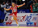 BELGRADE, SERBIA - DECEMBER 15: Camilla Herrem (R) celebrates the goal of Norway during the Women's European Handball Championship 2012 semifinal match between Norway and Hungary at Arena Hall on December 15, 2012 in Belgrade, Serbia. (Photo by Srdjan Stevanovic/Getty Images)