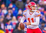 9 November 2014: Kansas City Chiefs quarterback Alex Smith drops back to pass in the fourth quarter against the Buffalo Bills at Ralph Wilson Stadium in Orchard Park, NY. The Chiefs rallied with two fourth quarter touchdowns to defeat the Bills 17-13. Mandatory Credit: Ed Wolfstein Photo *** RAW (NEF) Image File Available ***