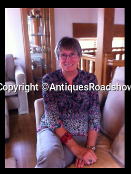 BNPS.co.uk (01202 558833)<br /> Pic: AntiquesRoadshow/BNPS<br /> <br /> ***Please Use Full Byline***<br /> <br /> JanetEvans, Ernest Johnson's granddaughter. <br /> <br /> <br /> The untold story of how a British soldier used a violin as a war diary has come to light 100 years after the start of the First World War.<br /> <br /> Ernest Johnson etched the names and dates of everywhere he travelled to while serving the army into the back of the violin which he had taken with him to entertain troops in the trenches.<br /> <br /> The first entry was in August 1915 and is followed by 20 place names and dates where he saw action including some of the most famous battle locations in France, Belgium and Italy.<br /> <br /> Ernest died in 1948 and the story of his violin became the stuff of family legend until his granddaughter Jan Evans started researching their family history in 2012.<br /> <br /> The amazing tale has been told for the first time in a new book by Paul Atterbury, an expert on the Antiques Roadshow.