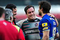 Marcos Ayerza of Leicester Tigers has a laugh with Argentina team-mates Juan Figallo and Marcelo Bosch of Saracens. Aviva Premiership match, between Leicester Tigers and Saracens on March 20, 2016 at Welford Road in Leicester, England. Photo by: Patrick Khachfe / JMP