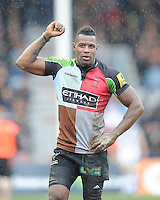 Ugo Monye of Harlequins celebrates scoring a try on his birthday during the Aviva Premiership match between Harlequins and Bath Rugby at the Twickenham Stoop on Saturday 13th April 2013 (Photo by Rob Munro)