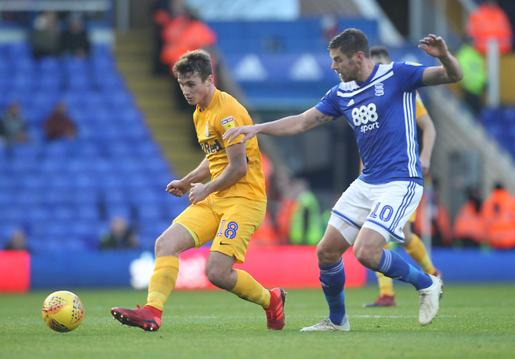 Preston North End's Ryan Ledson battles with  Birmingham City's Lukas Jutkiewicz<br /> <br /> Photographer Mick Walker/CameraSport<br /> <br /> The EFL Sky Bet Championship - Birmingham City v Preston North End - Saturday 1st December 2018 - St Andrew's - Birmingham<br /> <br /> World Copyright &copy; 2018 CameraSport. All rights reserved. 43 Linden Ave. Countesthorpe. Leicester. England. LE8 5PG - Tel: +44 (0) 116 277 4147 - admin@camerasport.com - www.camerasport.com