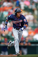 Minnesota Twins shortstop Engelb Vielma (1) runs to first base after hitting a triple during a Spring Training game against the Baltimore Orioles on March 7, 2016 at Ed Smith Stadium in Sarasota, Florida.  Minnesota defeated Baltimore 3-0.  (Mike Janes/Four Seam Images)