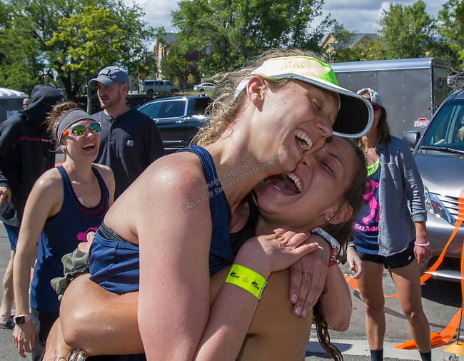 The Sax Addicts team celebrates at the 2019 Reno Tahoe Odyssey finish at Idlewild Park in Reno on Saturday, June 1, 2019.